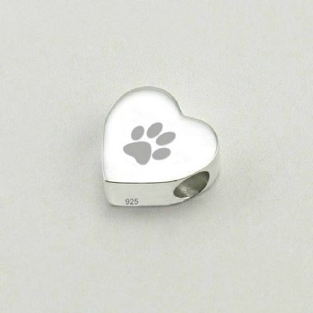 Personalised Paw Charm Bead, Stg Silver